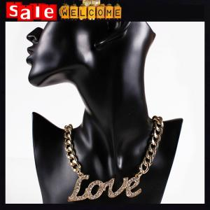 China Golden Statement Big Letter Love Crystal Rhinestone Heart Love Necklace Pendant Chain Gift on sale