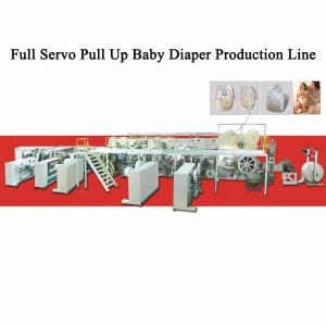 China Horizontal Pull Up 35 Ton Baby Diaper Manufacturing Machine on sale