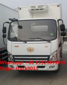 China customized FAW brand 4*2 RHD 130hp diesel 20cubic meters refrigerated truck for sale, on sale