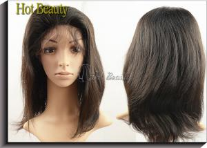 China Virgin Human Hair Machine Sewing Full Lace Wigs Soft Straight In Stock on sale