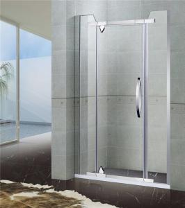 China Two Fixed Stainless Steel Pivot Shower Screen With Corner Cut Tempered Glass on sale