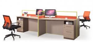 China Four Seats Office Partition Workstation MFC Melamine And Power Coating Fisnihing on sale