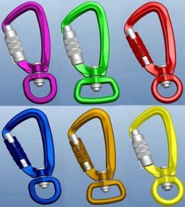 China Aluminum carabiner swivel locking hooks for rock mountain climbing on sale