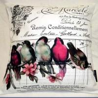 China Birds French Art Printed Pure Cotton Cushion Cover 45x45cm pillow cover on sale