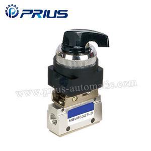 3 válvula pneumática MSV86321PB da posição da maneira 2, válvula de ar mecânica do botão verde redondo