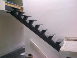 China carbon steel single beam straight stair with railing on sale