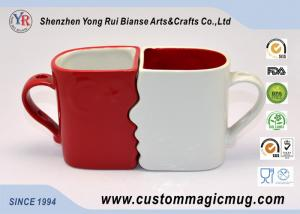 China Eco Friendly Mugs Handle Mug Couples Coffee Mugs Lover Cup DIY Available Red White on sale
