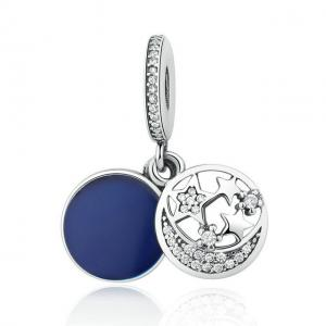 China Round 925 Sterling Silver Charms And Pendants For Jewelry Making Moon And Stars Style on sale