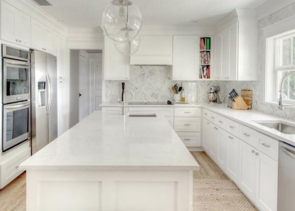 Pure White Pattern Natural Quartz Countertops With