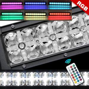 China 9 - 32 V Rgb Double Row Led Light Bar Halo Multi Color High Low Beam on sale