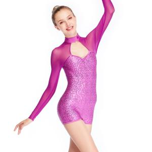 China MiDee Long Sleeves Sequins Jazz Costumes Leotards Gymnastics Polo Dance Competition Clothing Biketard on sale