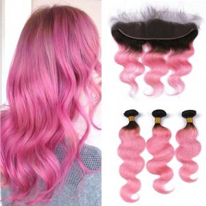 China Brazilian Human Hair Body Wave Hair 1B/Pink Color Bundles With 13*4 Frontal Lace Closure with baby hair on sale