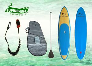 China Bamboo Veneer Carbon Fiber Bamboo SUP Paddle Board with Blue Rail / Thrust Fins on sale