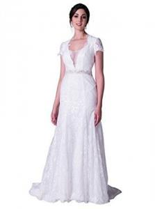 China ALBIZIA White Lace Beading short Sleeve Chapel Train Mermaid Wedding Dress on sale