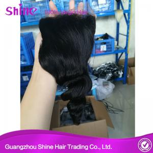 China Shinehair Brazilian Loose Wave 4*4 Lace Closure with Baby Hair Virgin Human Hair Lace Closures 10-20 Inch on sale