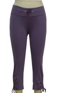 China Cotton Elastane Jersey Adult Fashion Sportswear 3 4 Length Purple Yoga Pants for Women on sale