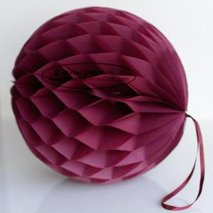 China DIY Burgundy Tissue Paper Honeycomb Balls Pom Poms With Loop For Hanging on sale