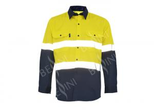 China 100% Cotton Two Tone Custom Work Shirts With 5CM Reflective Tape Chest Pockets on sale