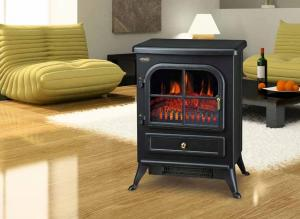 China plastic frame electric fireplace heater mini electric stove ND-18D1P chimenea electrica CHEAP log flame effect on sale