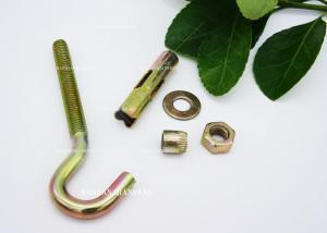 China Yellow Zinc Metal Expansion Open Eye Hook Bolt , Screw In Eye Hooks High Precision on sale