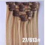 Grampo colorido em perucas falsificadas do cabelo das extensões sintéticas do cabelo para as mulheres brancas