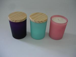 China scented Soywax glass candles with wood lid on sale