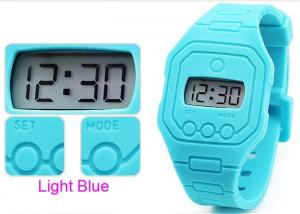 China Silicone EL light Blue Ultra Thin Digital Watch Adverting Promotion Gift / PMS Color  on sale