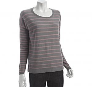 China Long sleeve Striped Scoop Neck Womens Cashmere Sweaters In Smoke / Pink on sale
