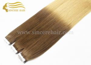 China 26 Inch LONG Ombre Hair Extensions for sale, 65 CM Long 2 Tone Color Ombre Remy Human Hair Extensions Tape In For Sale on sale