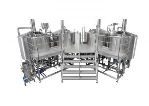 China 3500L Electric Heating 4 Vessel Brewhouse With Dimple Plate Jacket For Fermentation System on sale