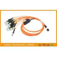 Orange Flat MPO MTP Fiber Cables OM1 ( 62.5 / 125um ) , FC Fan - Out Fiber Optic Patch Cord