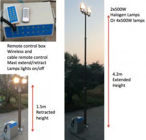 China 4.2m lighting tower/ pneumatic lighting masts/ remote control lighting tower on sale