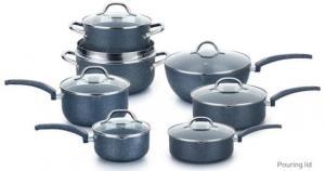 China Eco-friendly Aluminum Stone coating Nonstick Cookware Set Dishwasher Safe with soft handle on sale