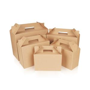 China Recycled Brown Color Paper Box Packaging Gift Box With Handle on sale