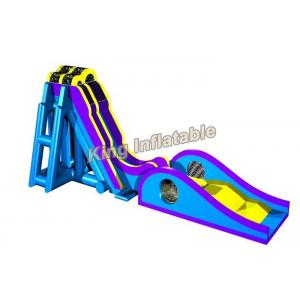 China Blue / Yellow Inflatable Water Slide Games Commercial 12 * 4m For Beach on sale