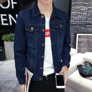 China Comfortable Slim Fit Mens Jean Jackets And Coats Dark Blue Embroidered Pocket on sale