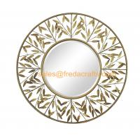 FR-16042 Decorative Wrought Metal Iron Wall Mirror with Leaves Gold finish in handmade