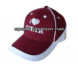 Quality 100% cotton fashion maroon patchwork sports baseball cap with piping for sale