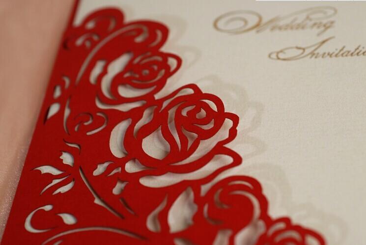 Red Rose Wedding Invitations Elegant Laser Cut Invitation ...