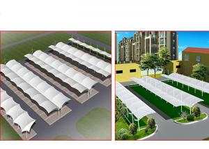 China Large Metal Car Parking Shed Two Sided , Car Wash Shade Structures Permanent on sale