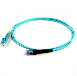 China Blue Fiber Optic Patch Cord MTRJ To LC/UPC OM3 50/125 Duplex 2.0mm 5Mtrs OFNR on sale