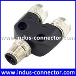 M12 A code 3 pin male to female waterproof y splitter connector for industry