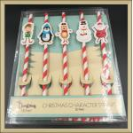 China Disposable party tableware Drinking Paper Straws christmas character straws wholesale