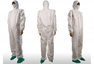 China Waterproof Anti Static White Disposable Paint Suit With Knitted Cuffs / Front Zipper on sale