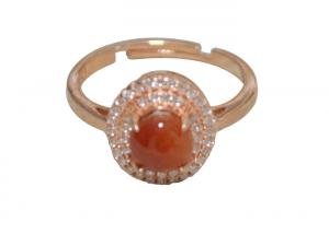 China Long Oval Amber 925 Sterling Silver Rings For Women , Gold Plated Fashion Rings on sale