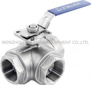 China 316 CF8M 3 Way Sanitary Ball Valve With Casting Body , 1-1 / 2 Inch Ball Valve on sale