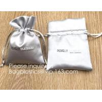 China Custom Gold Pink Satin Hair Extension Packaging Bag,Soft And Shinny White Silk Drawstring Pouch For Packaging bagease on sale