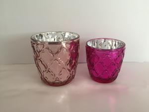 China Pink Decorative Candle Glass Cups Colored Votive Holders Romantic Wedding on sale