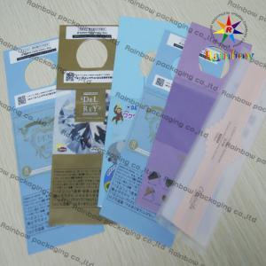 China Bolsos modificados para requisitos particulares reciclados impresos transparentes de OPP con el agujero redondo de la caída on sale