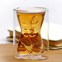 Handmade Mouth Blown Muscle Man Body Shape Double Wall Glass Beer Mug Whisky Cup For Party & Birthday Gift